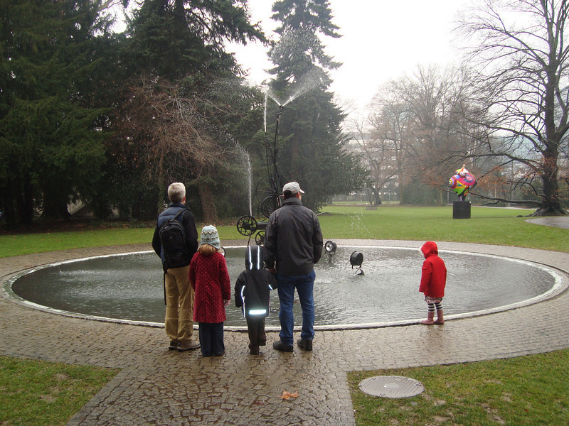 Admiring the fountain at the TInguley museum
