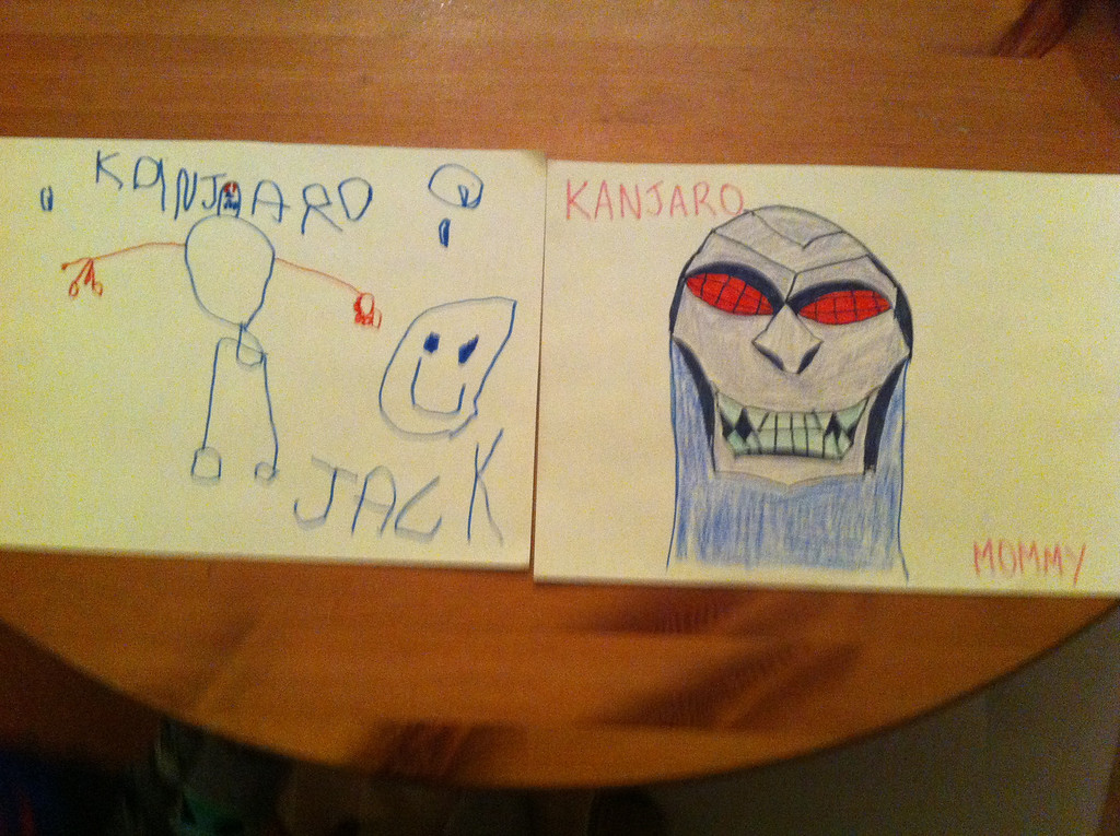 Jack and I both drew a picture of the scariest Batman villain: Kanja-Ro