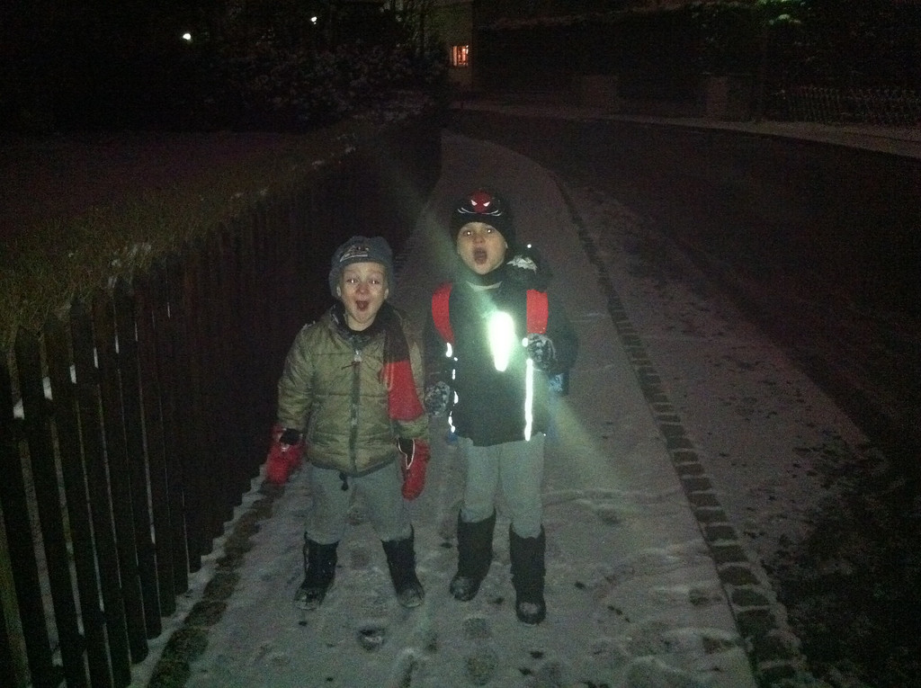 The boys like the snowy commute