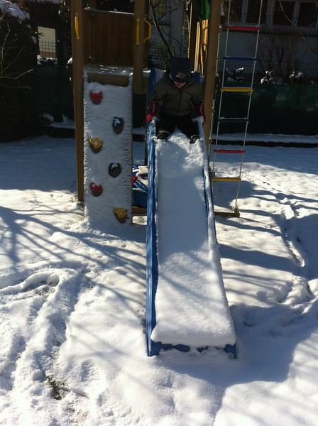 Slippy, snowy slide
