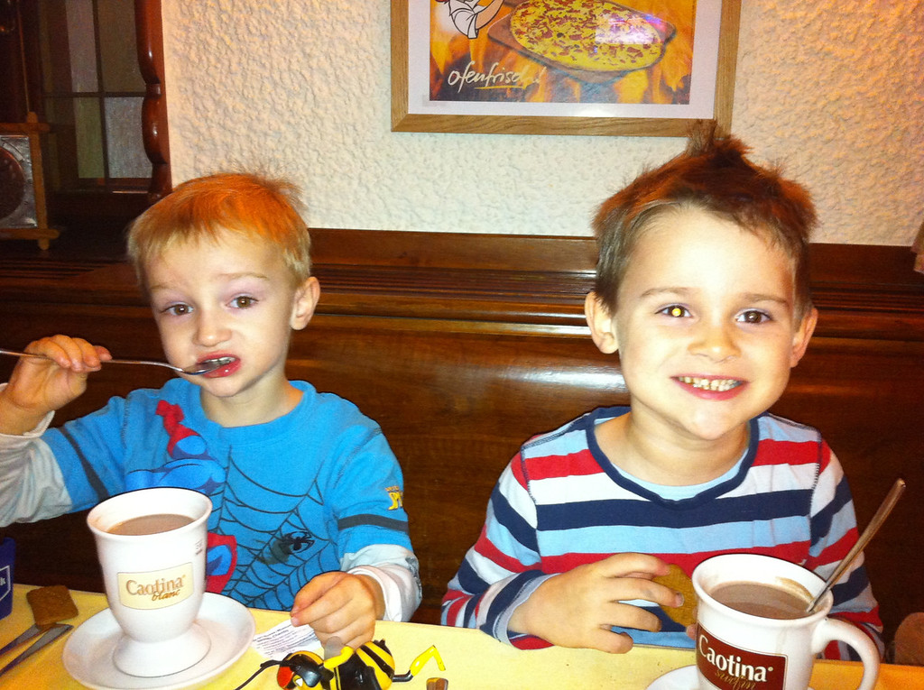 We cycled into town for dinner in WAY sub-zero temperatures - had to warm the boys up with hot chocolate