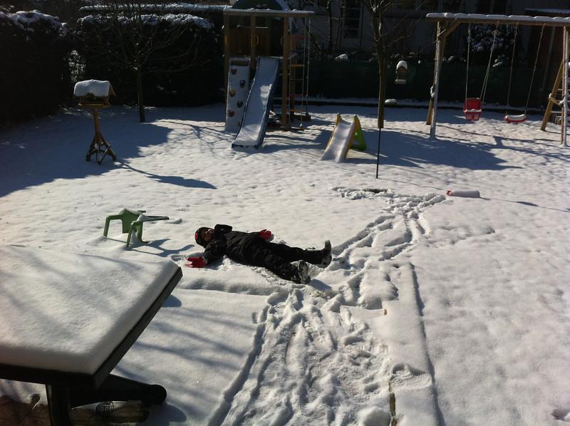 Jack loves to make snow angels