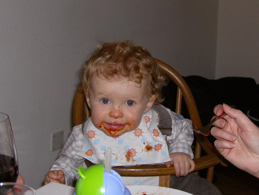 Jamie enjoying his pasta & tomato sauce