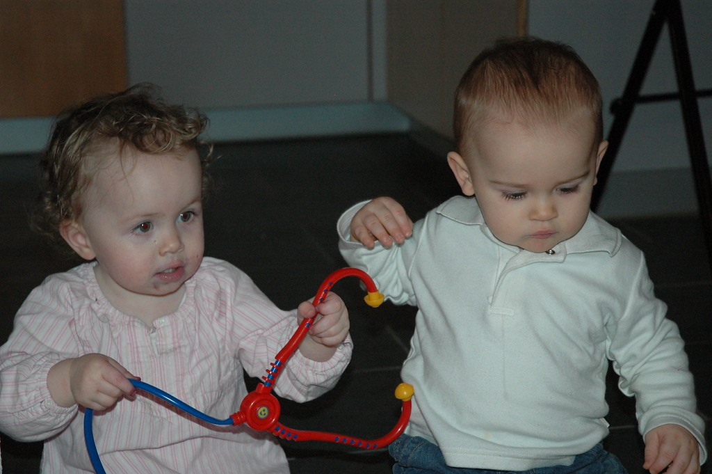 Sophia & Jack had a great time playing together and then sat and had fish, noodles & veggies for supper, it was too cute!