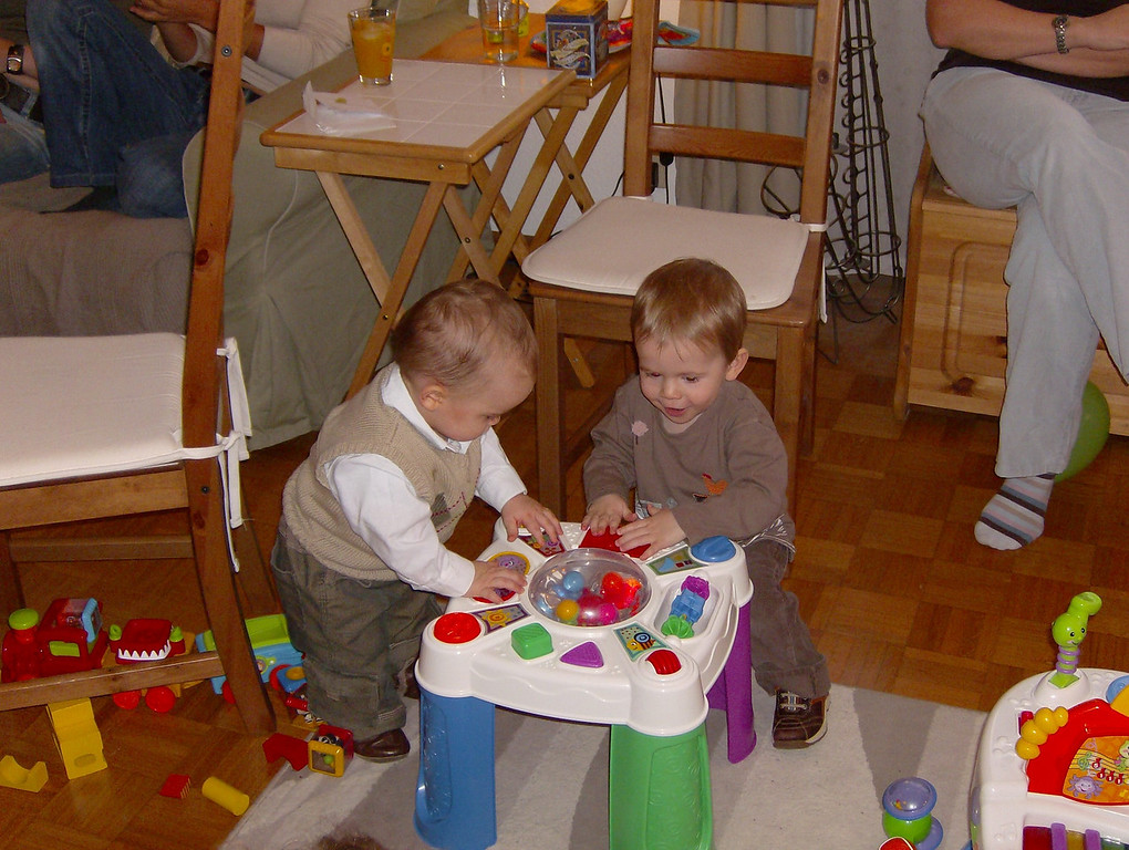Jack & Findlay playing nicely together (momentarily!). Findlay always wants to play nicely with Jack, who is not too keen on sharing his toys at the moment.