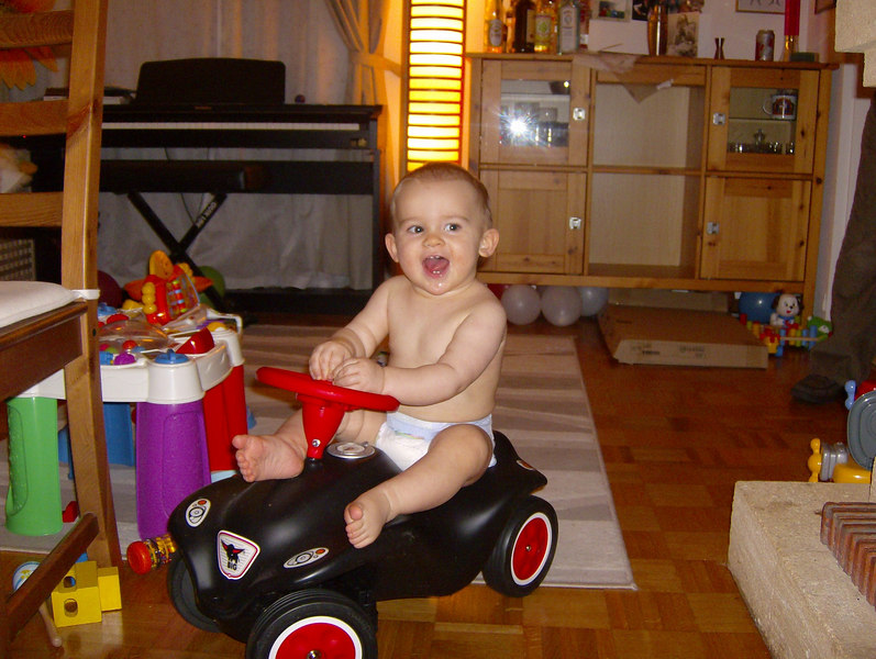 How pleased is Jack with his new car?! A few minutes later he took a header off it & got carpet burn on his forehead!