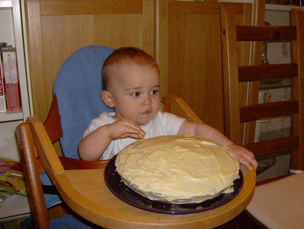 Jack's not quite sure what to do, plus the cake is still a bit hard from being in the fridge.