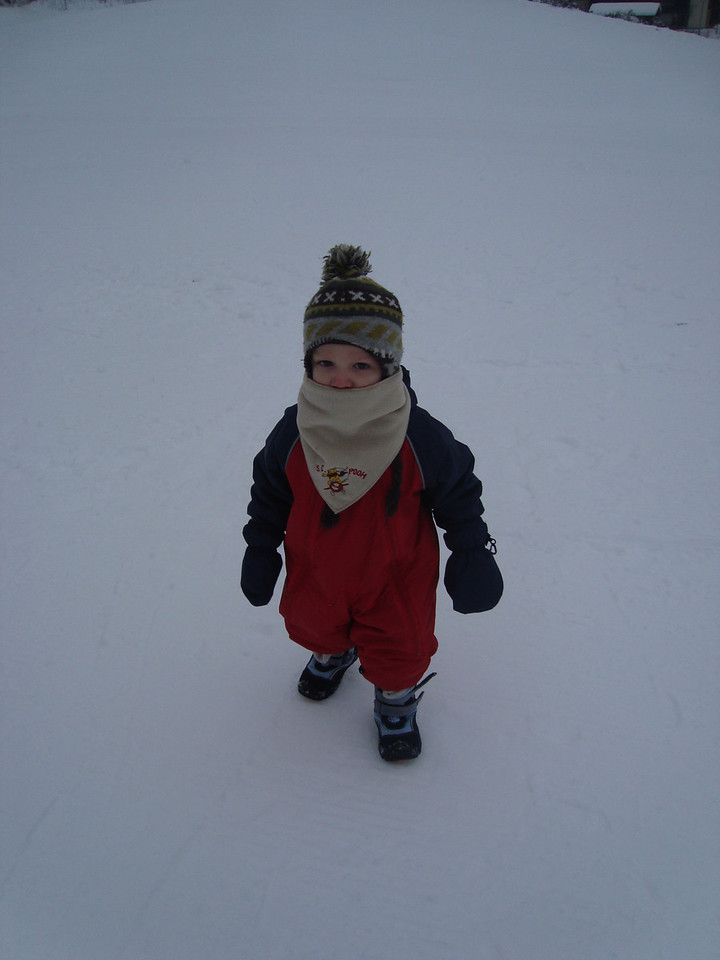 Danny wrapped-up warm to roll around in the snow whilst Jack skis