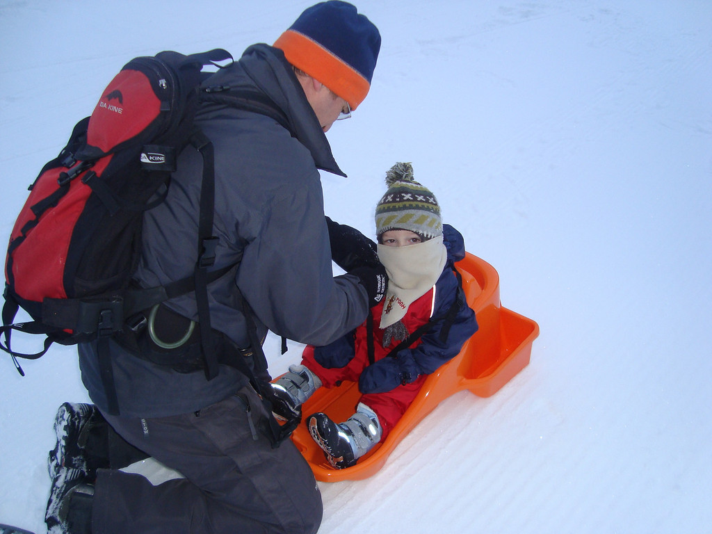 Danny getting ready to go sledging
