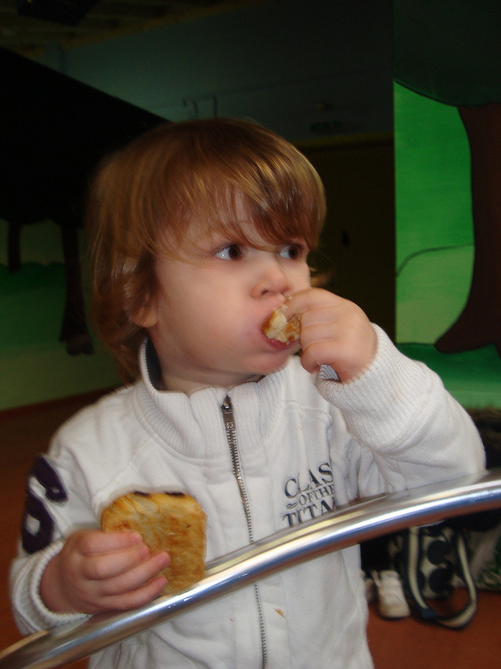 Olly making the most of the pain au chocolat