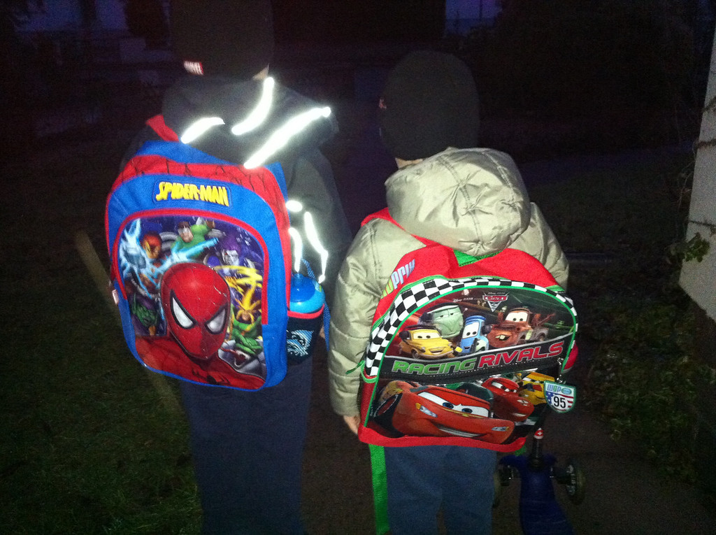 Dark mornings, awesome backpacks! Thanks Christine & Clifford!