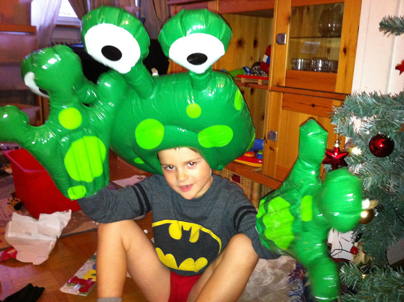 We *love* the blow-up alien disguise!