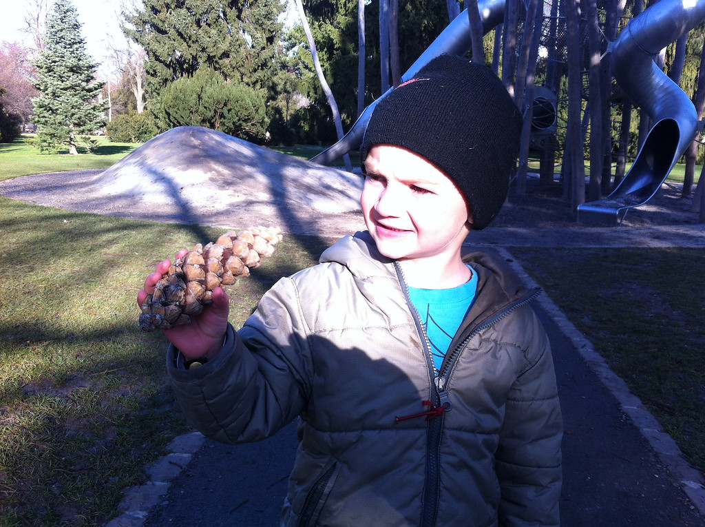 We stopped @ Kannenfeldpark on the way home, Danny was chuffed with his pine-cone, although somewhat concerned that the squirrels were going to steal it - not sure he understands the difference between pine-cone & acorn