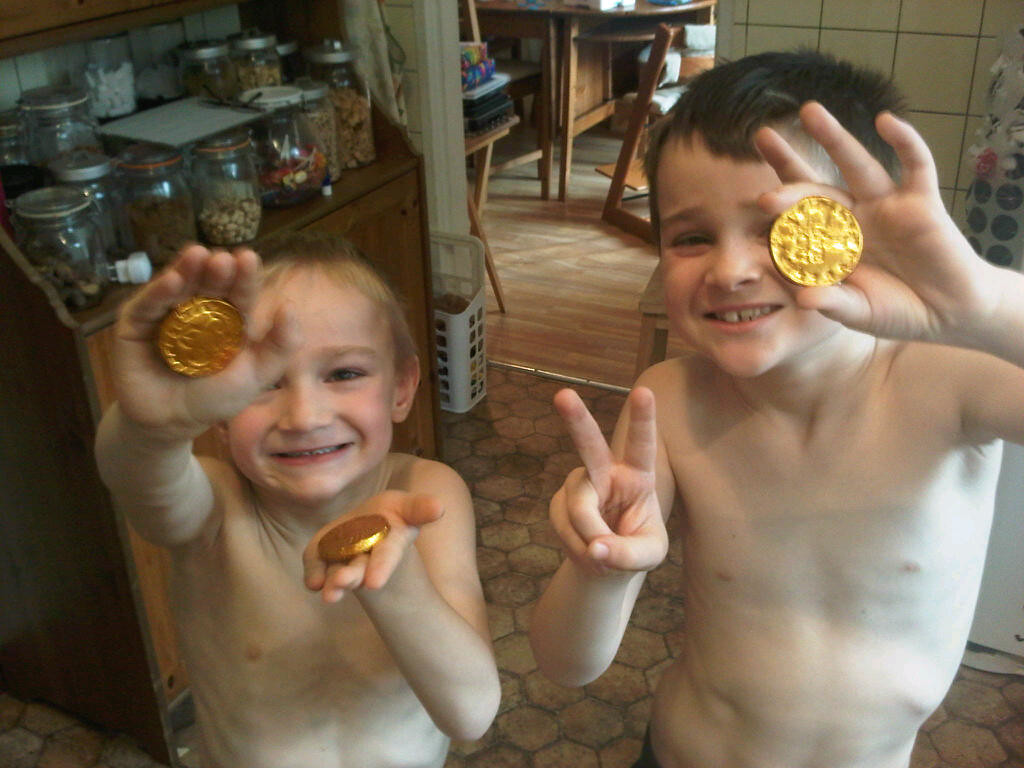 Making the chocolate coins from one of D's presents