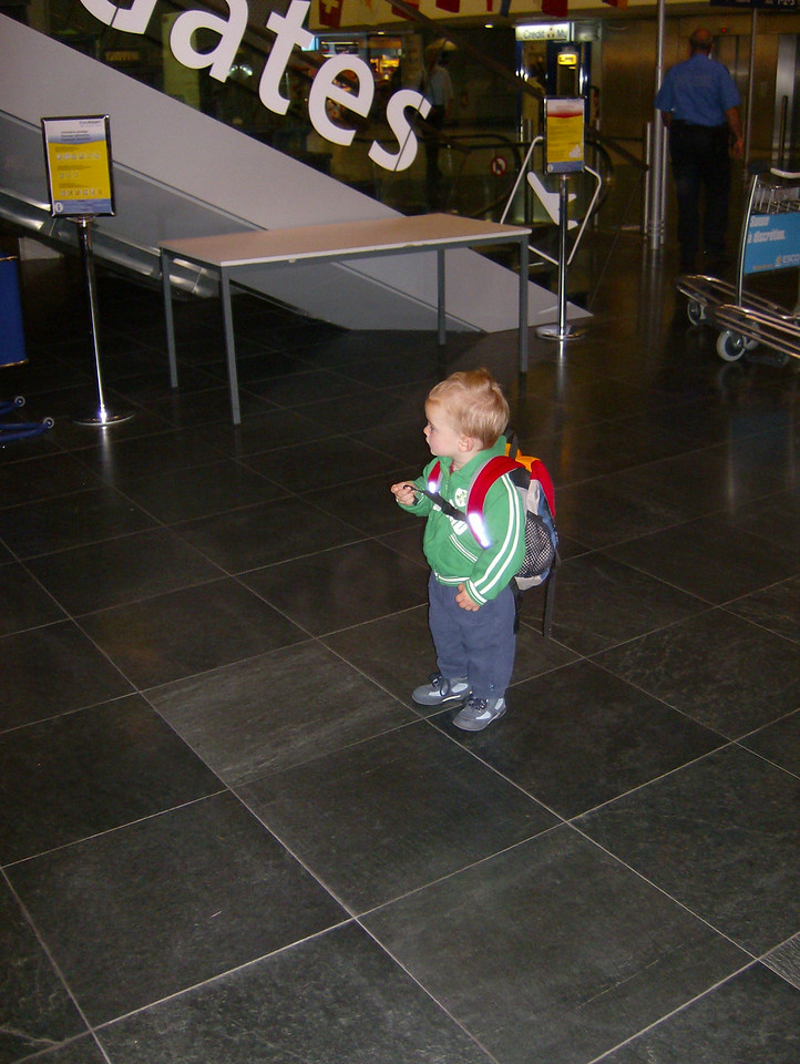 Jack at Basel airport at 6am with his backpack full of toys,