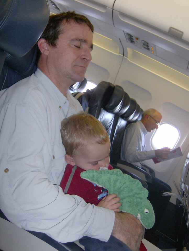 Mike, Jack & Chompsy catching forty winks on the plane.