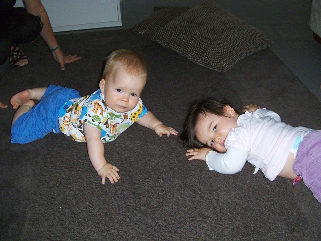 Jake & Thyra playing nicely amongst the toddler chaos