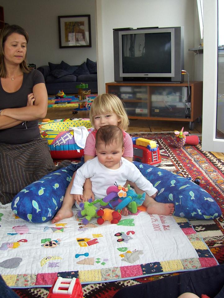 Elysia helping Naia to keep her balance