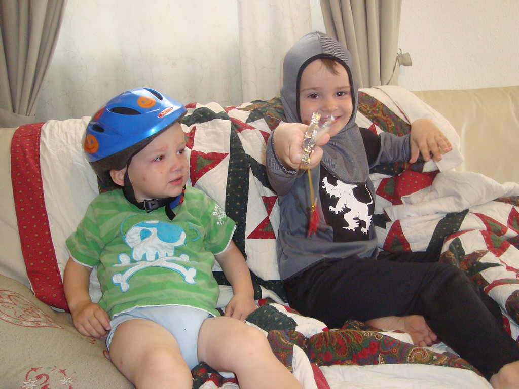 Danny was upset he didn't have a costume too (& so it begins), so he had to make do wit a bicycle helmet & a pirate t-shirt - cheered him up well enough