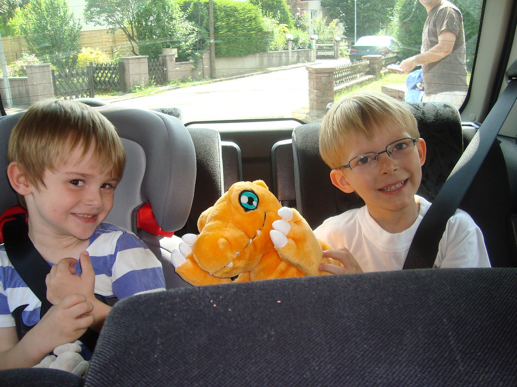 Jack & Emilien in the back of the car - off to McDonald's for lunch