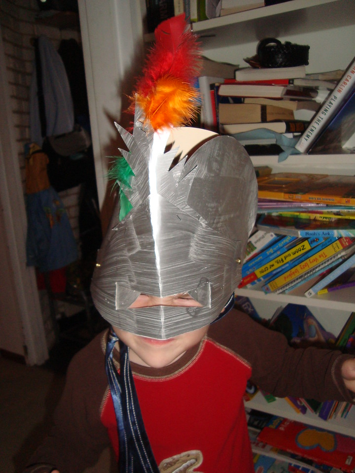 This is the knight's helmet Jack made at school for his end-of-year party