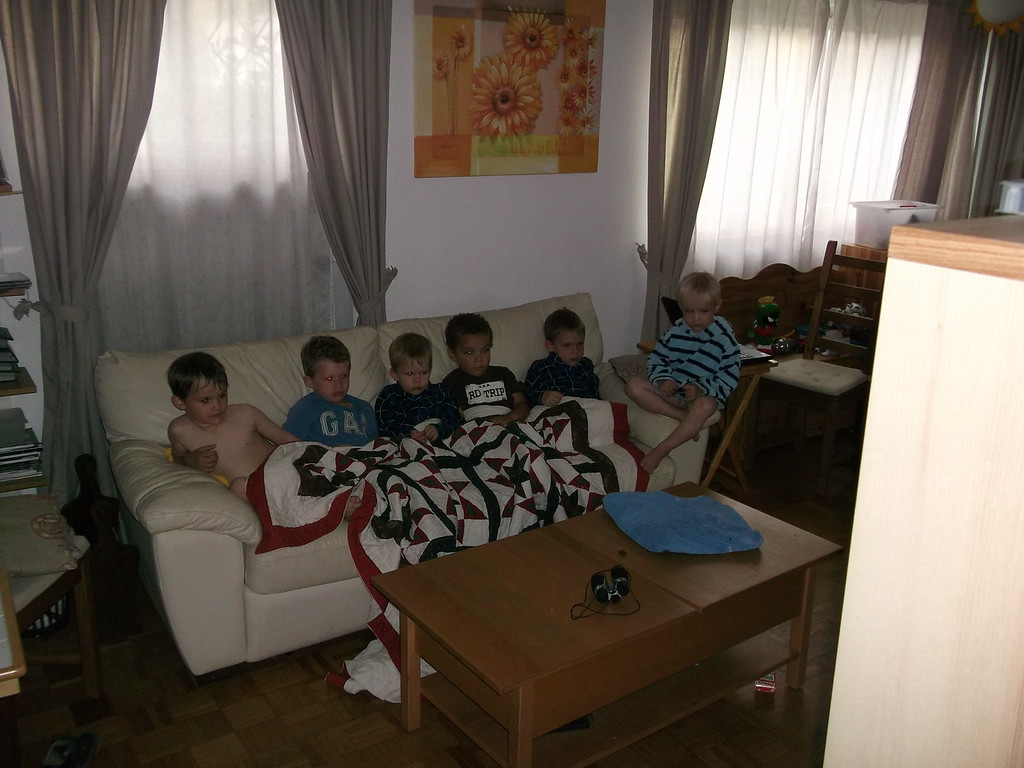 Six tired boys relaxing! Sophia & Kaili are in the other room colouring :)