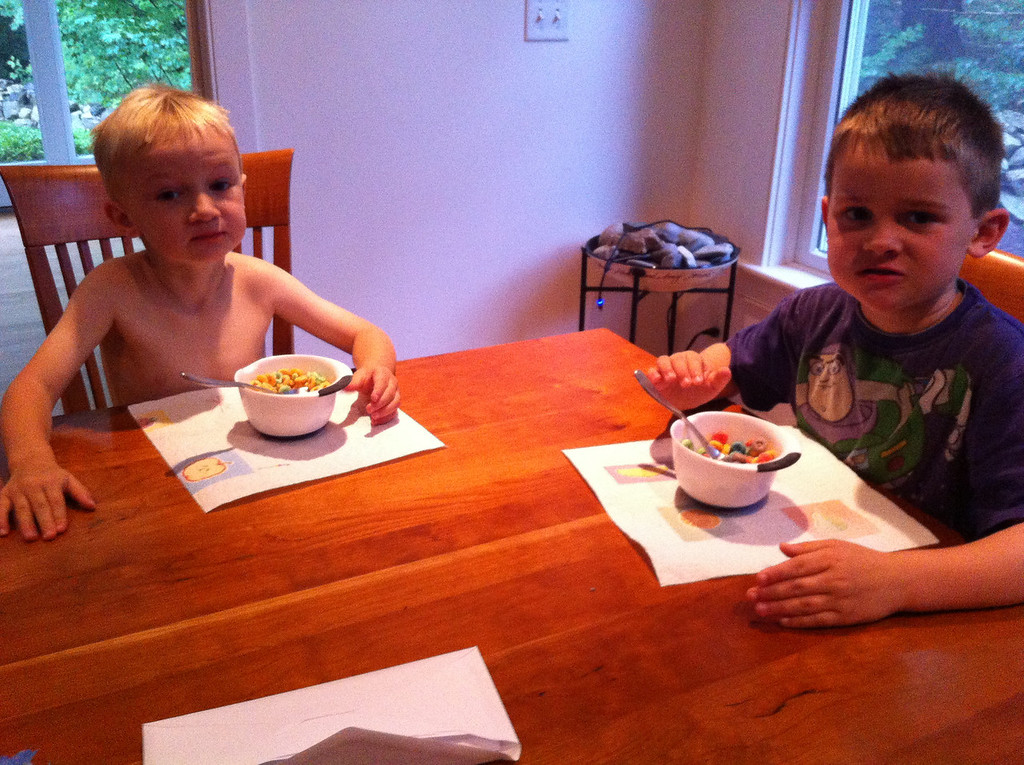 Fruit Loops for breakfast: Jack thought they were the greatest thing ever!