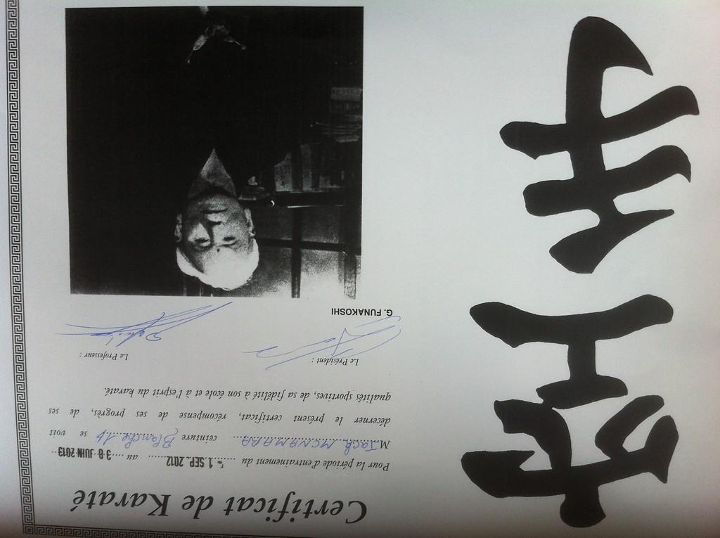 015 Karate Certificate