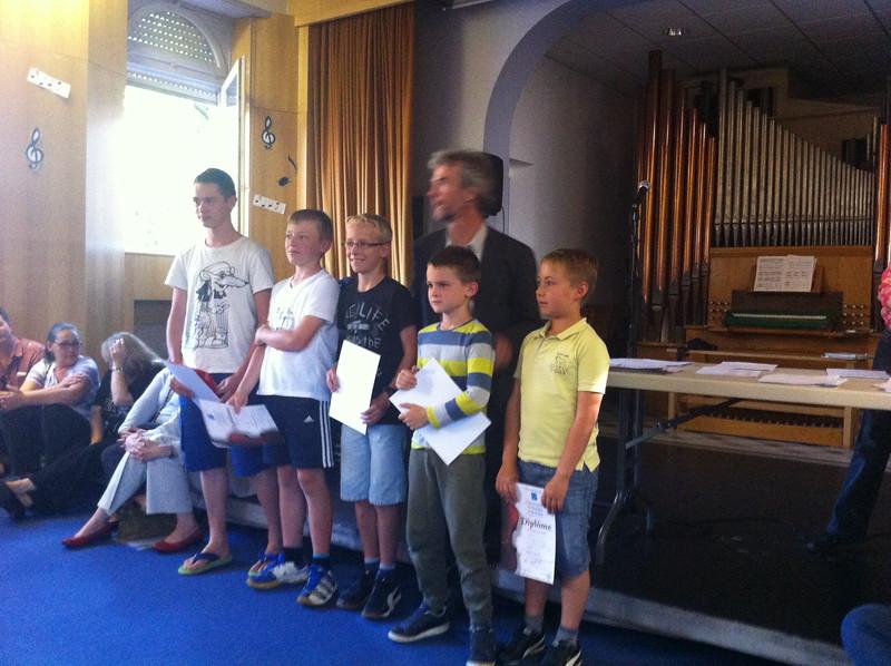 Jack getting his trumpet diploma