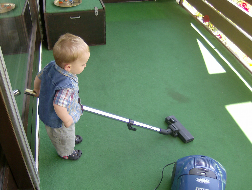 Jack is fascinated with the vacuum cleaner. He was a lot of help to us this weekend cleaning the new place in Chamonix.