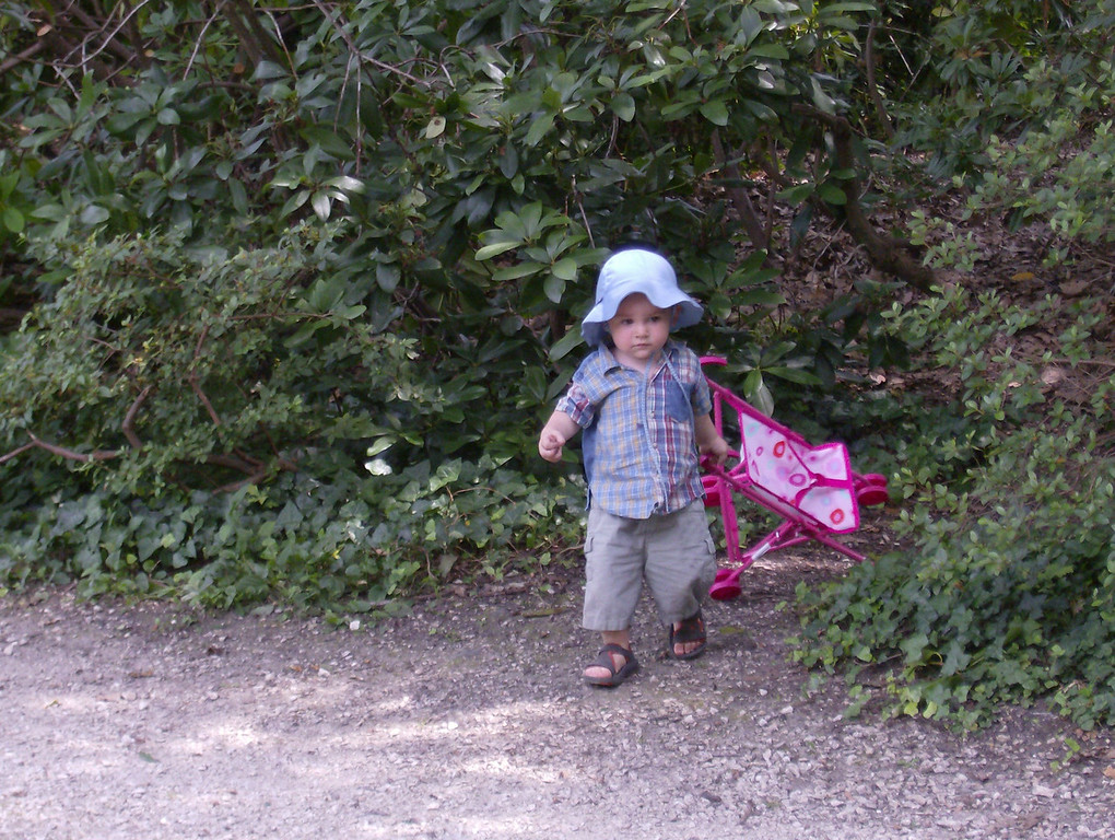 Jack just loved Elysia's toy pushchair he pushed it round & round & round for ages. Then he took it into the woods to use as cover for hide & seek.