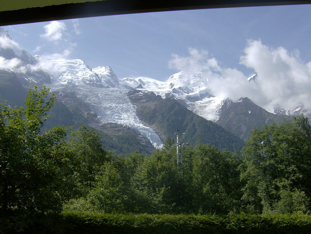Looking straight up at the glacier des Bossons and Mont Blanc.