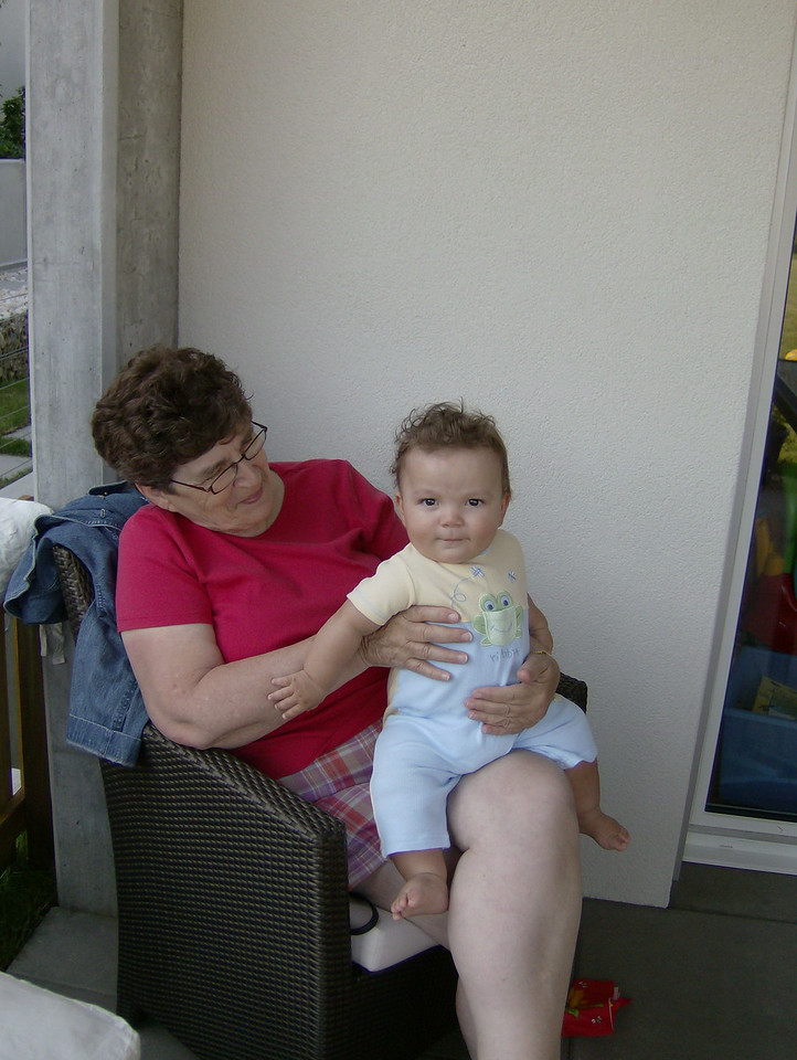 Handsome Cullen enjoying some cuddle-time with Nanny.