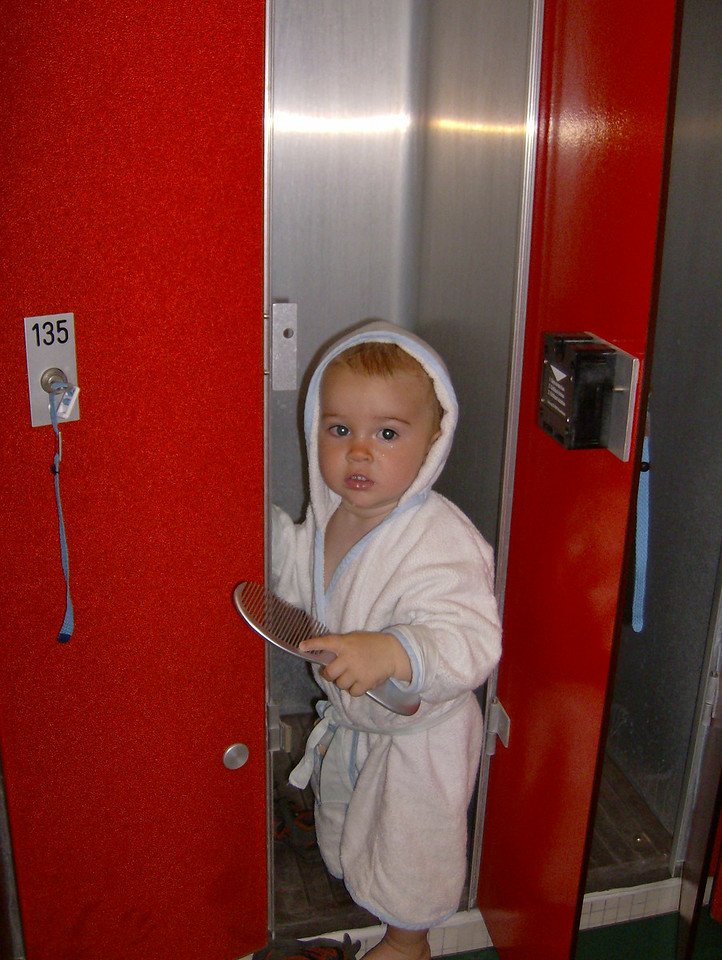 Jack in the changing rooms after our weekly swim lesson. We're hoping to get a place in the Saturday morning class after I go back to work 100% as it's great fun & we want him to be really comfortable in the water.