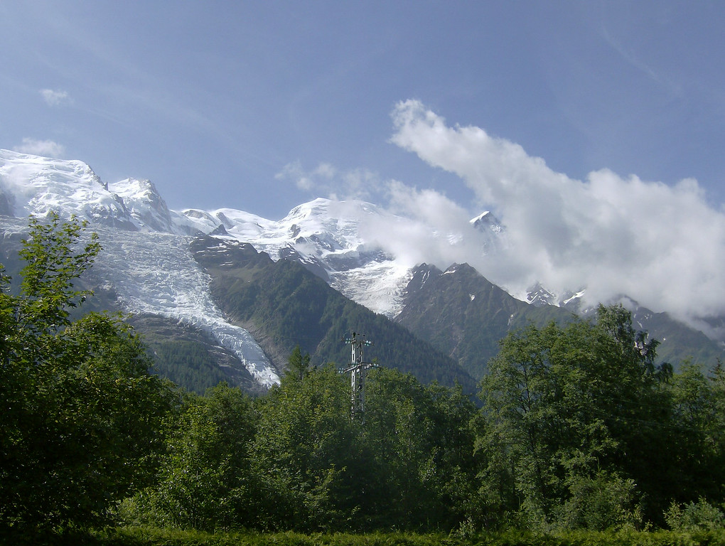 Mont Blanc, the dome & the Aiguile du Gouter just peaking out from the clouds.