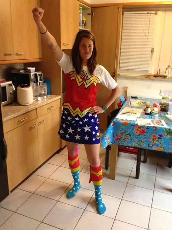 Sarah modelling our Wonderwoman kit for St. Gallen 10's tournament