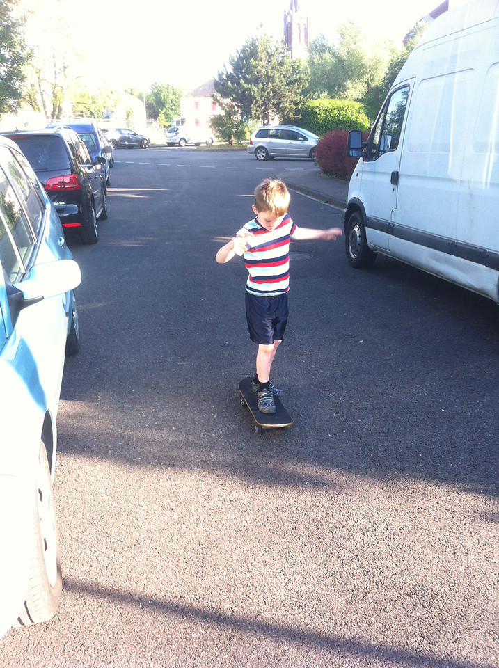 Trying out Danny's skateboard