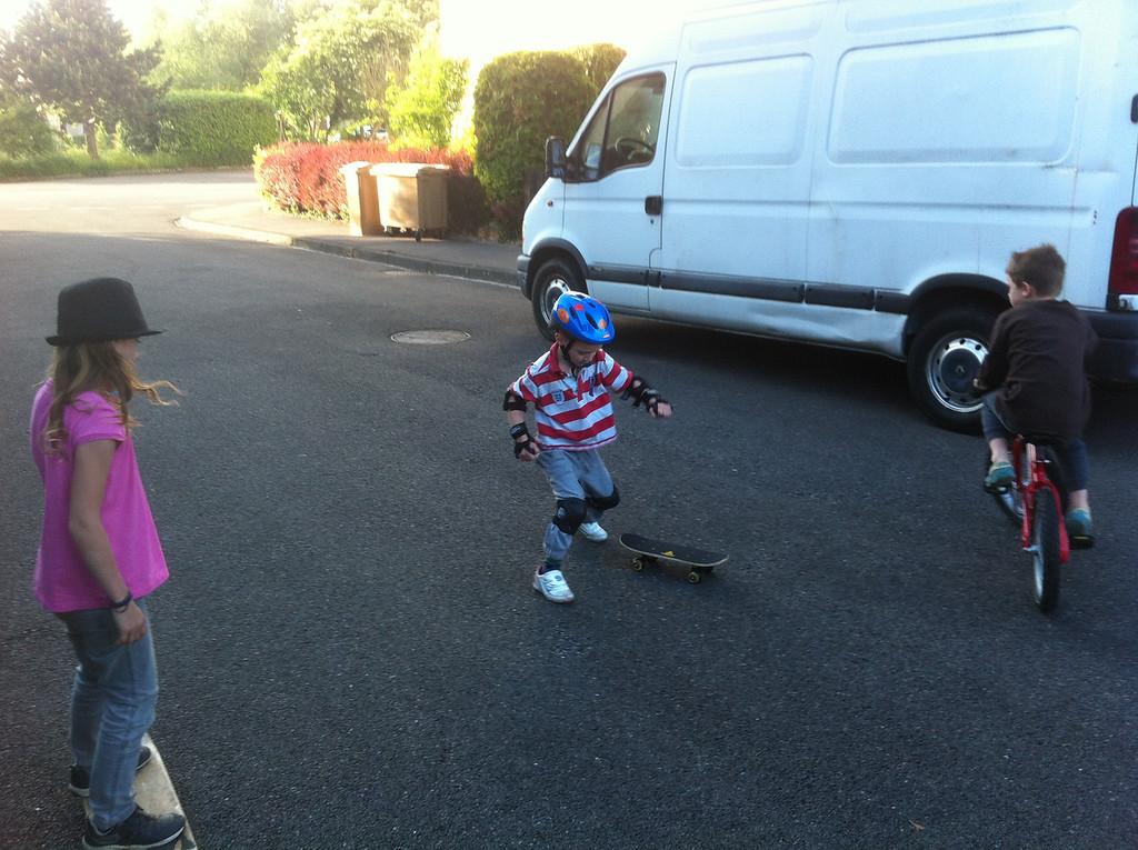 Practicing his birthday skateboard