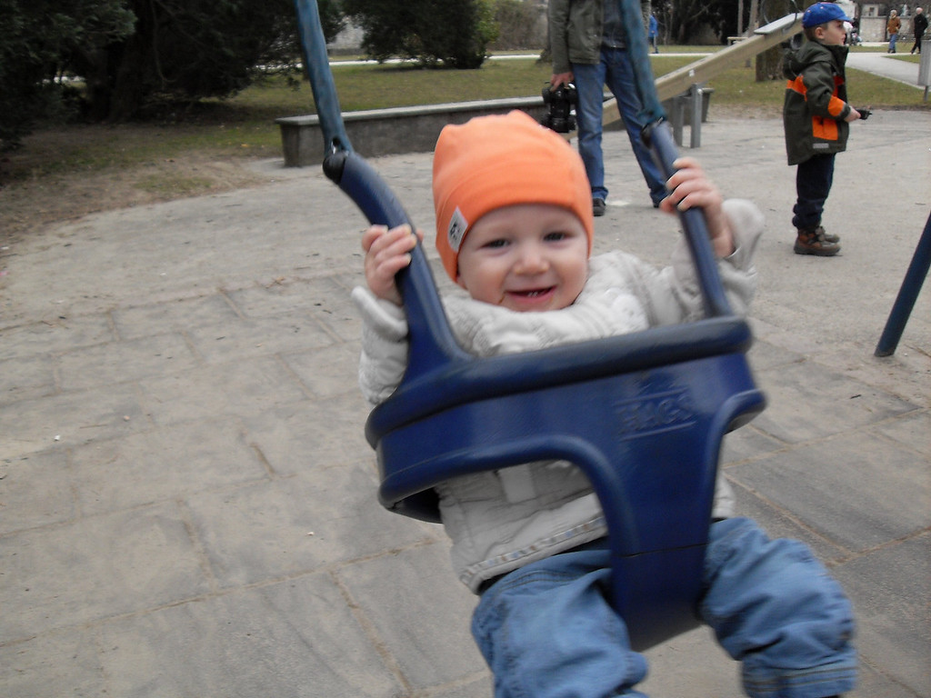 Danny loves the swing so much, he laughs & laughs