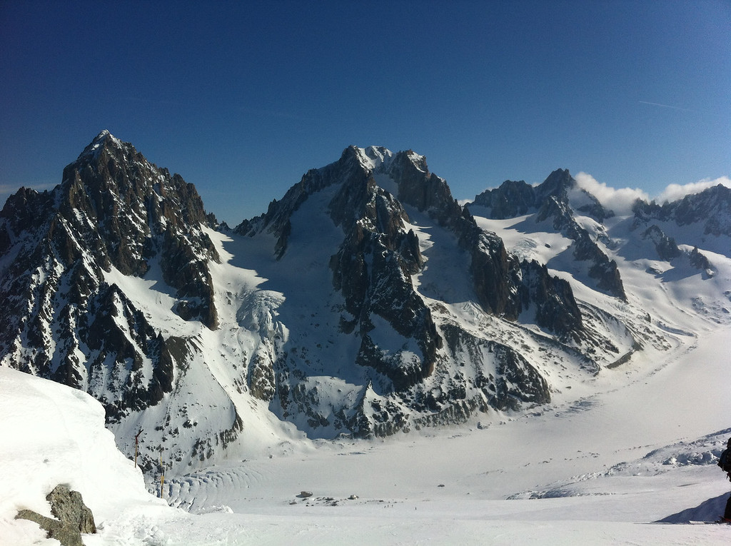 Looking across the glacier at the Aiguille & Col du Chardonnay