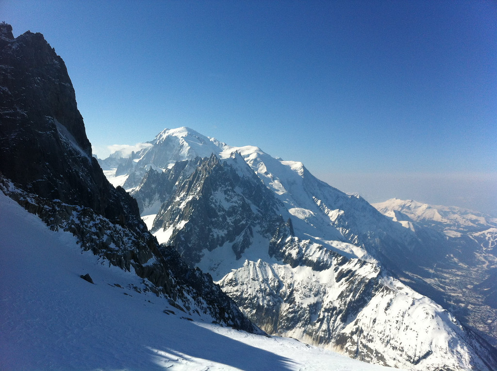Mont Blanc from the top of Grands Montets. I love that from the valley the Aiguille du Midi is what looks most impressive and from up here Mont Blanc towers above everything else