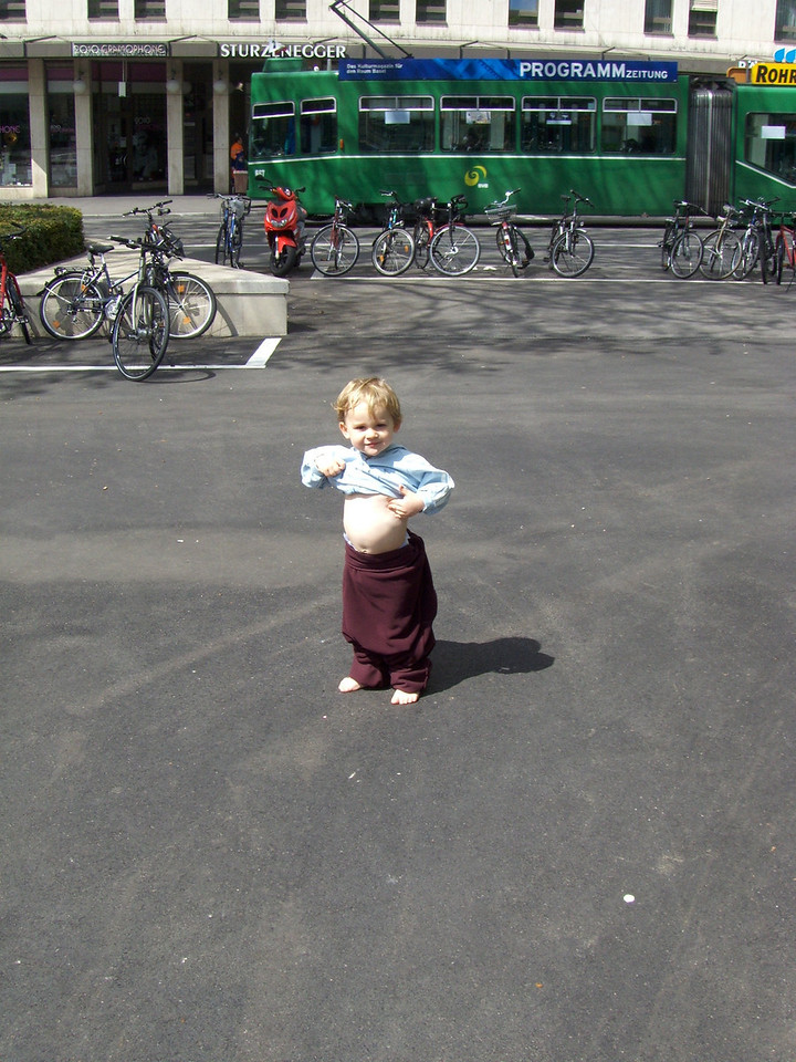 We had lunch at the Angry Monk on Bank Holiday Thursday & Jack had a small accident when he fell into the Tinguely fountain! We had no spare clothes so he had to wear his jacket & Mike's fleece fashioned into some trousers. He was actually really pleased with his outfit as he could show-off his belly.