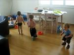Jack, Jamie & Findlay entertaining Jake by dancing along with Tigger