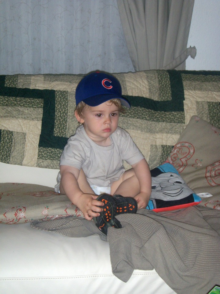 Jack in his new Cubbies hat & Tevas that Aunt Nanny sent over from the US