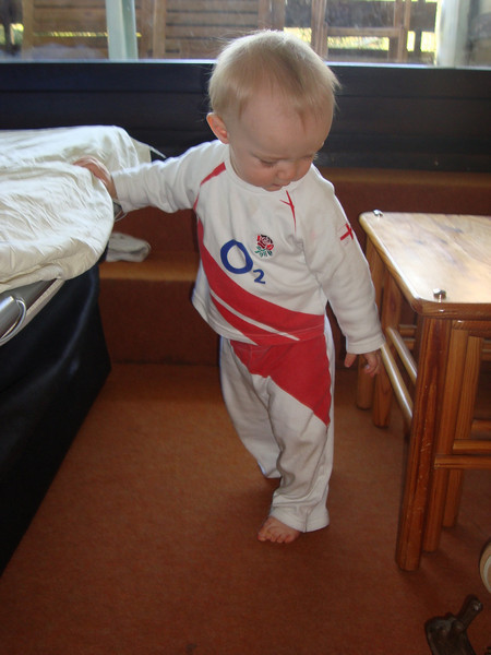 Not a great shot of Danny but a good one of these cool jammies that Alanah lent to him after she out-grew them!