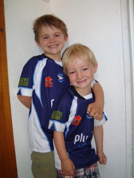 My beautiful (far too big) boys in their Luzern rugby shirts