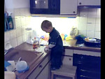 Jack had big fun cleaning the kitchen, he still insists on putting almost everything in his mouth though!