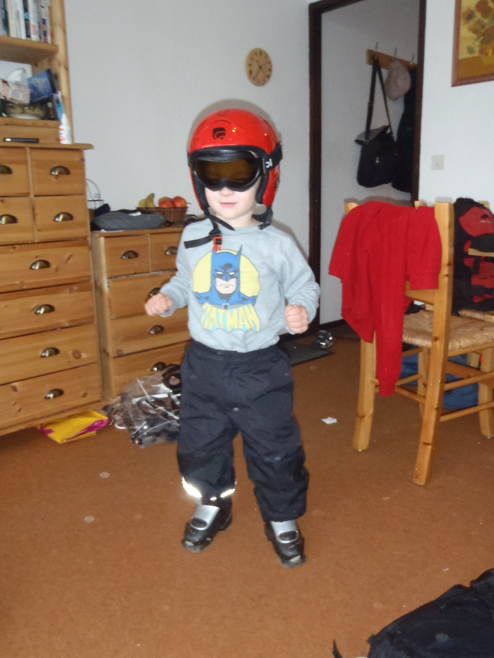 Danny is chuffed to bits with his new red helmet