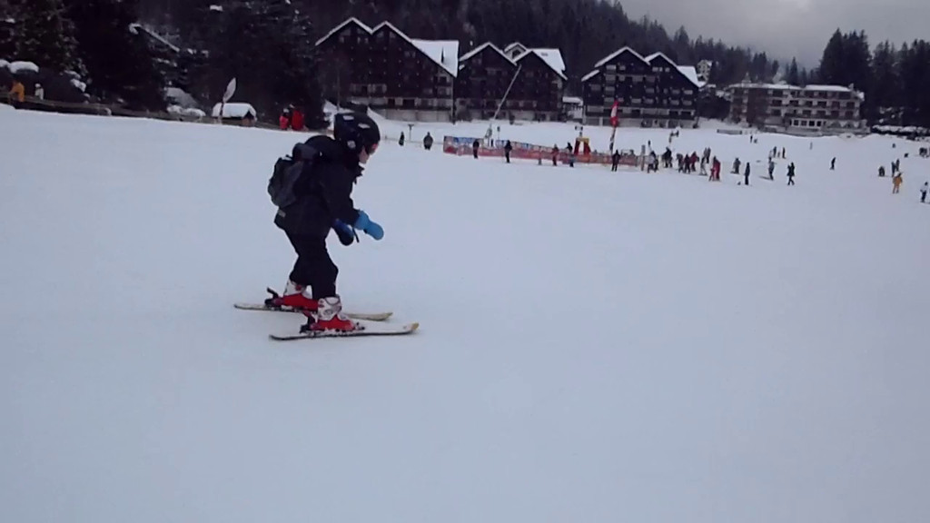 Jack skiing on Day 1 - he was bored of the smaller nursery slope very quickly