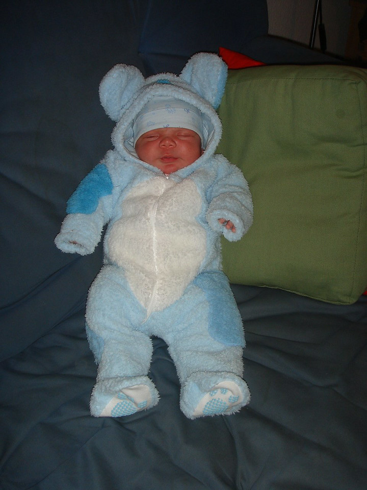 Cullen looks SO cute in this little bear snowsuit we got for him!